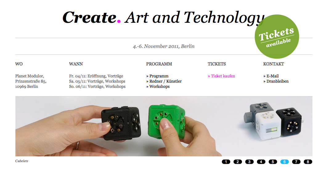 Create Art And Technology: 4. bis 6. November 2011